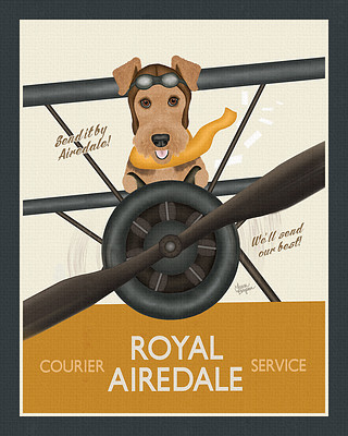 Yellow and Blue Airedale Terrier Biplane Poster Print
