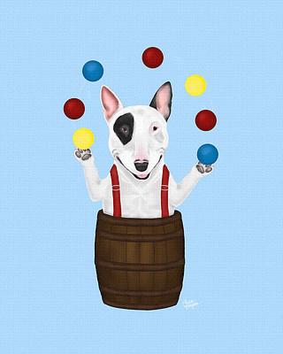 Blue Bull Terrier Art Print - juggling at a rodeo
