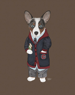 Brown Tricolor Cardigan Corgi dressed for school.
