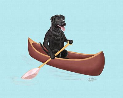 Black Lab paddling in a canoe.