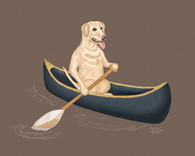 Brown option - Yellow Lab paddling in a blue canoe.