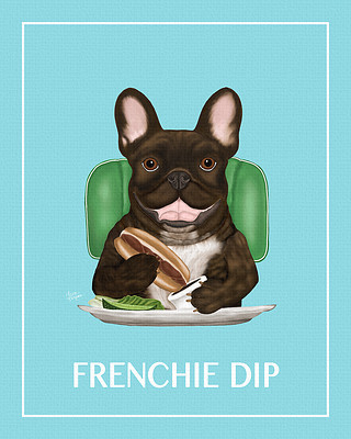 Painting of a Frenchie Bulldog eating some french dip