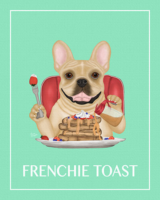 Painting of a Frenchie Bull eating some french toast
