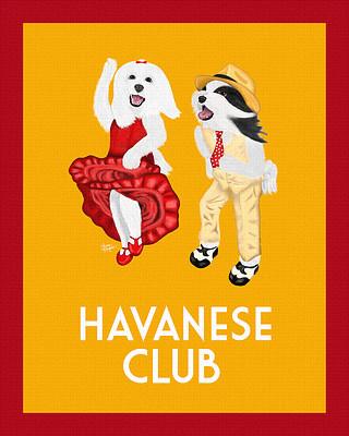 Orange Havanese Club Painting - Canine Musical Freestyle - Art Deco