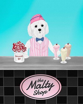 Boy Maltese painting, working at the malt shop counter