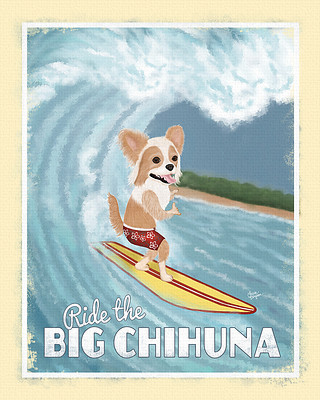 Long haired Chihuahua surfing the big wave in hawaii