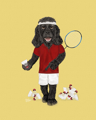 Black Cocker Spaniel painting - playing badminton with the birdies