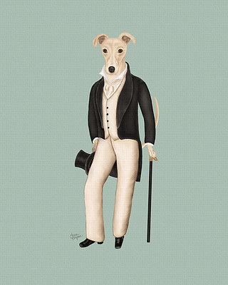 Picture of a Greyhound Dog dressed in the style of Dorian Gray.