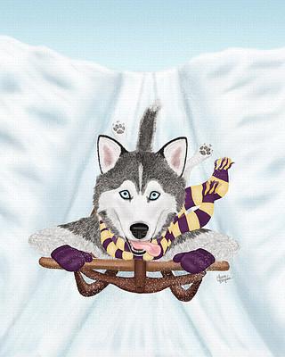 Purple Sled Husky dog barreling down the slopes.