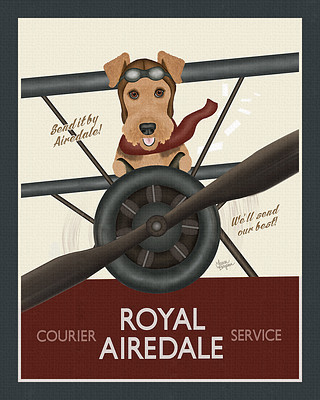 Red and Blue Airedale Terrier Biplane Poster Print