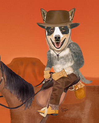 Australian Cattle Dog Print - cowdog riding on horse