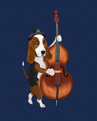 Basset Hound playing the blues with an upright bass.