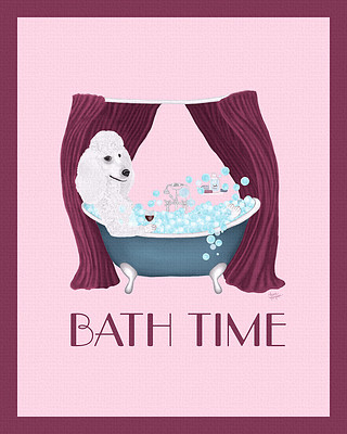 Poodle Poster Taking a Bath
