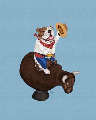 Blue Bulldog art riding a mechanical bull