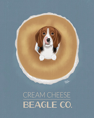 Poster of a Beagle in a cream cheese bagel.