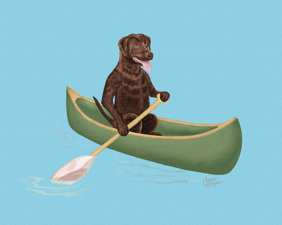 Chocolate Lab paddling in a canoe.
