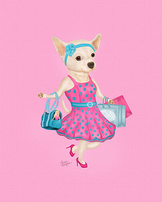 "Pink ""Perrito de Moda"" - Chihuahua shopping in style on Rodeo Drive."