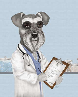 Schnauzer art print of dog writing a perfect prescription.