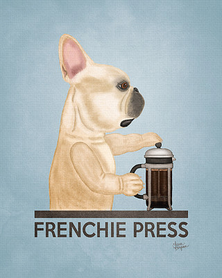 French bulldog Brewing his coffee with a french press.