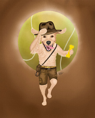 Indiana Bones Golden Retriever Painting