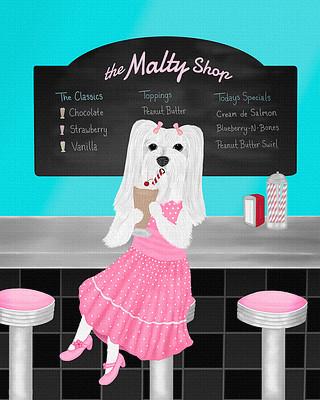 Maltese girl dog painting - sitting at the malt shop drinking a chocolate shake