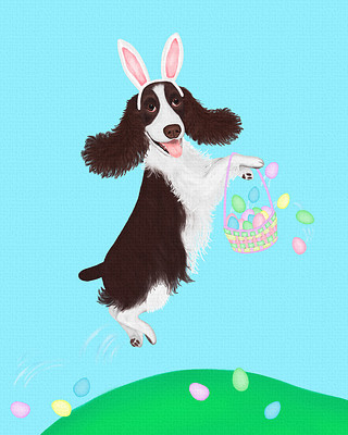 Springer Spaniel on an Easter Egg Hunt