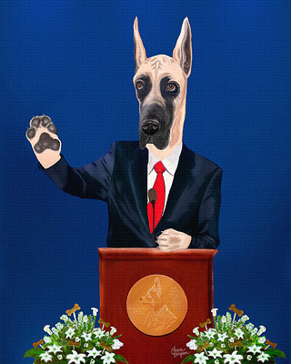 Great Dane Art Print accepting the Nobel Peace Prize