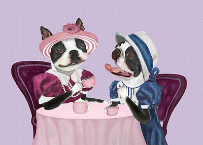 Boston Terrier Tea Party Print
