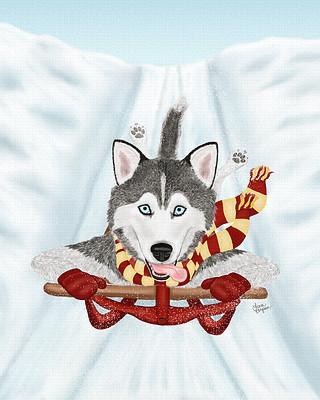 Red Sled Husky dog barreling down the slopes.