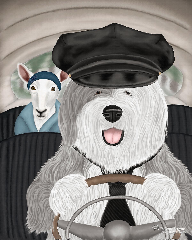 "Old English Sheepdog™"" | Whimsical Dog Art | Panting Portraits Old English Sheepdog Kent"