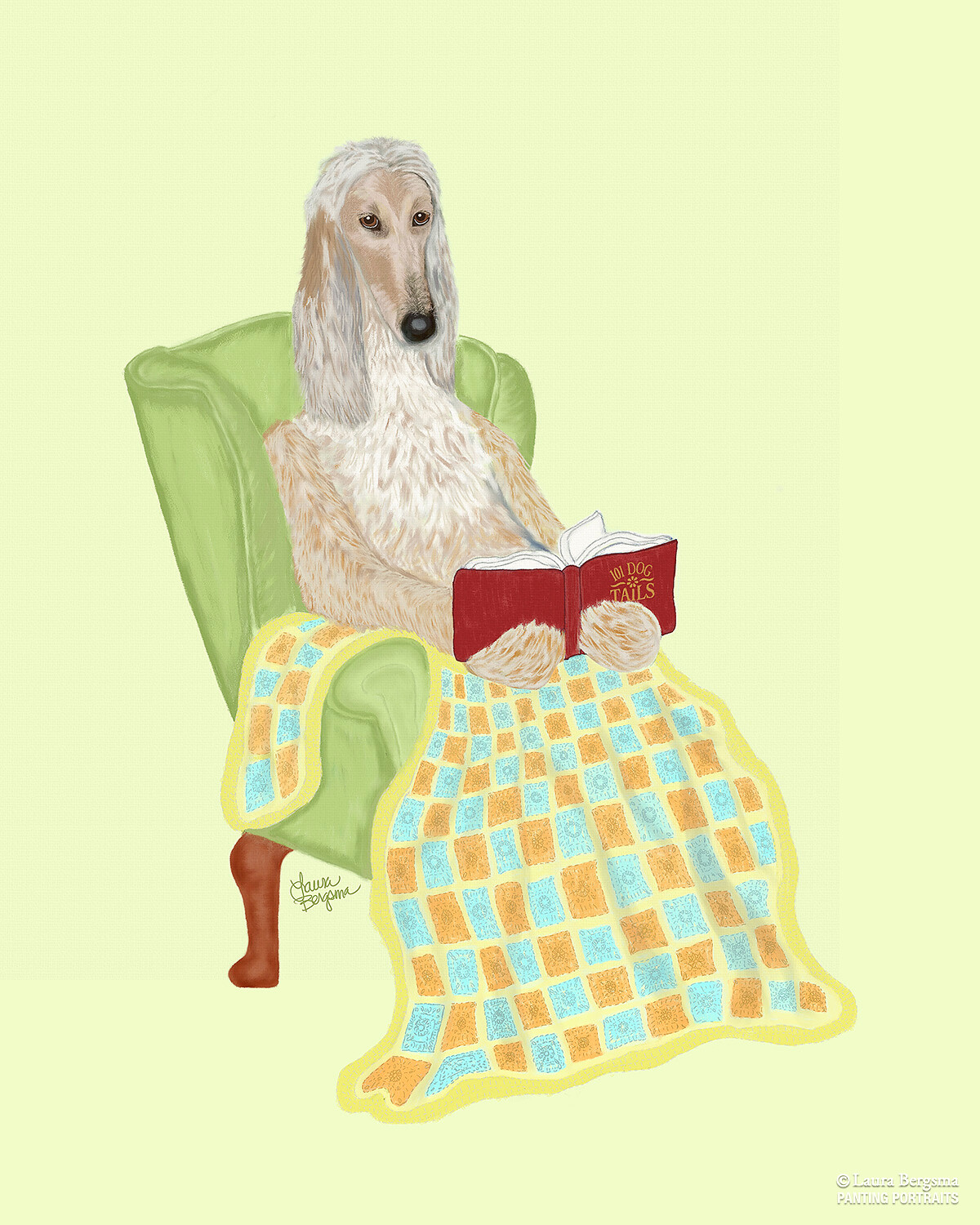 Afghan hound reading a book with a blanket.