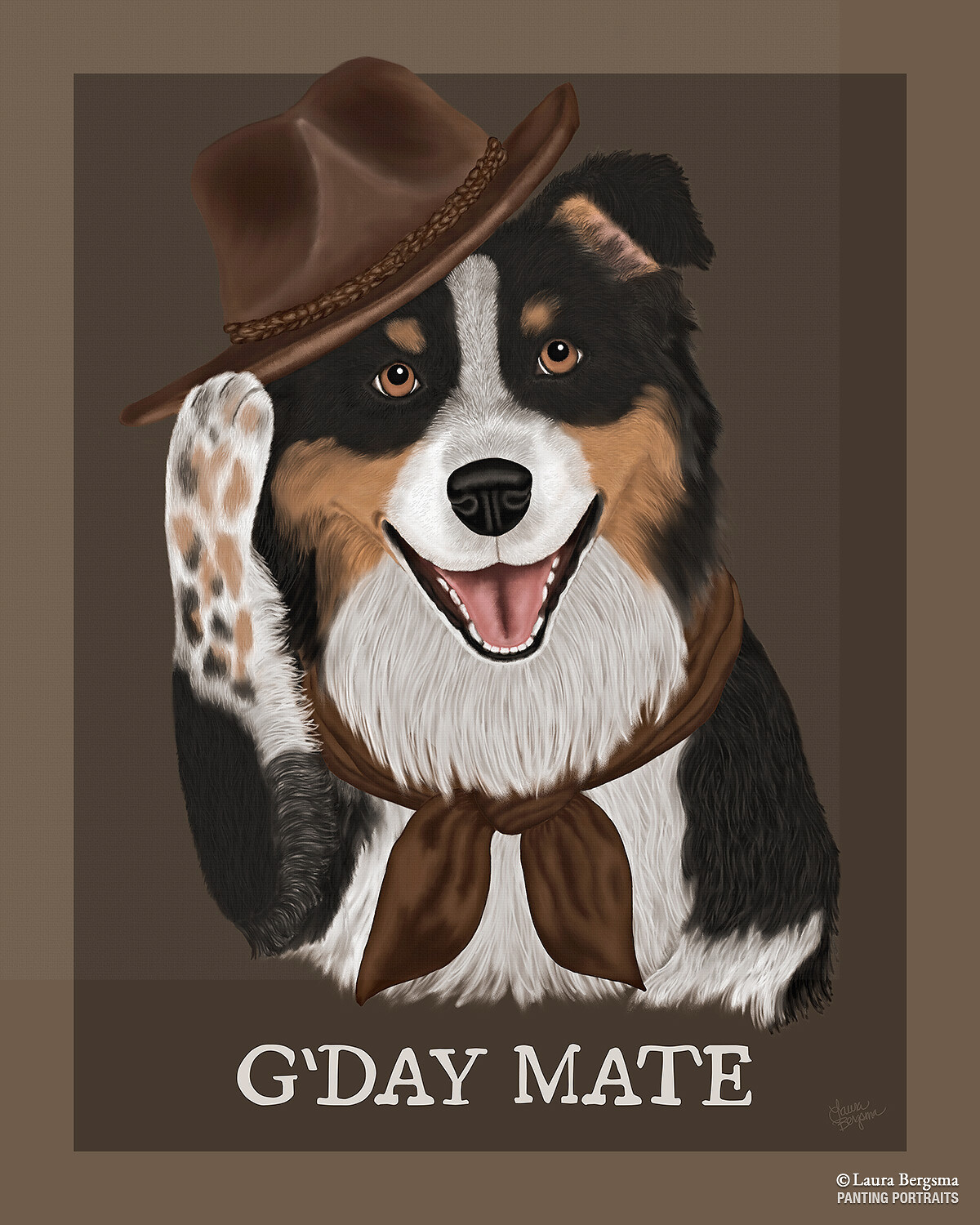 Tricolor Australian Shepherd tipping his hat