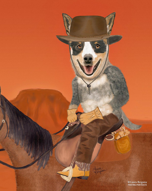 Australian Cattle Dog Print - cowdog riding on horse