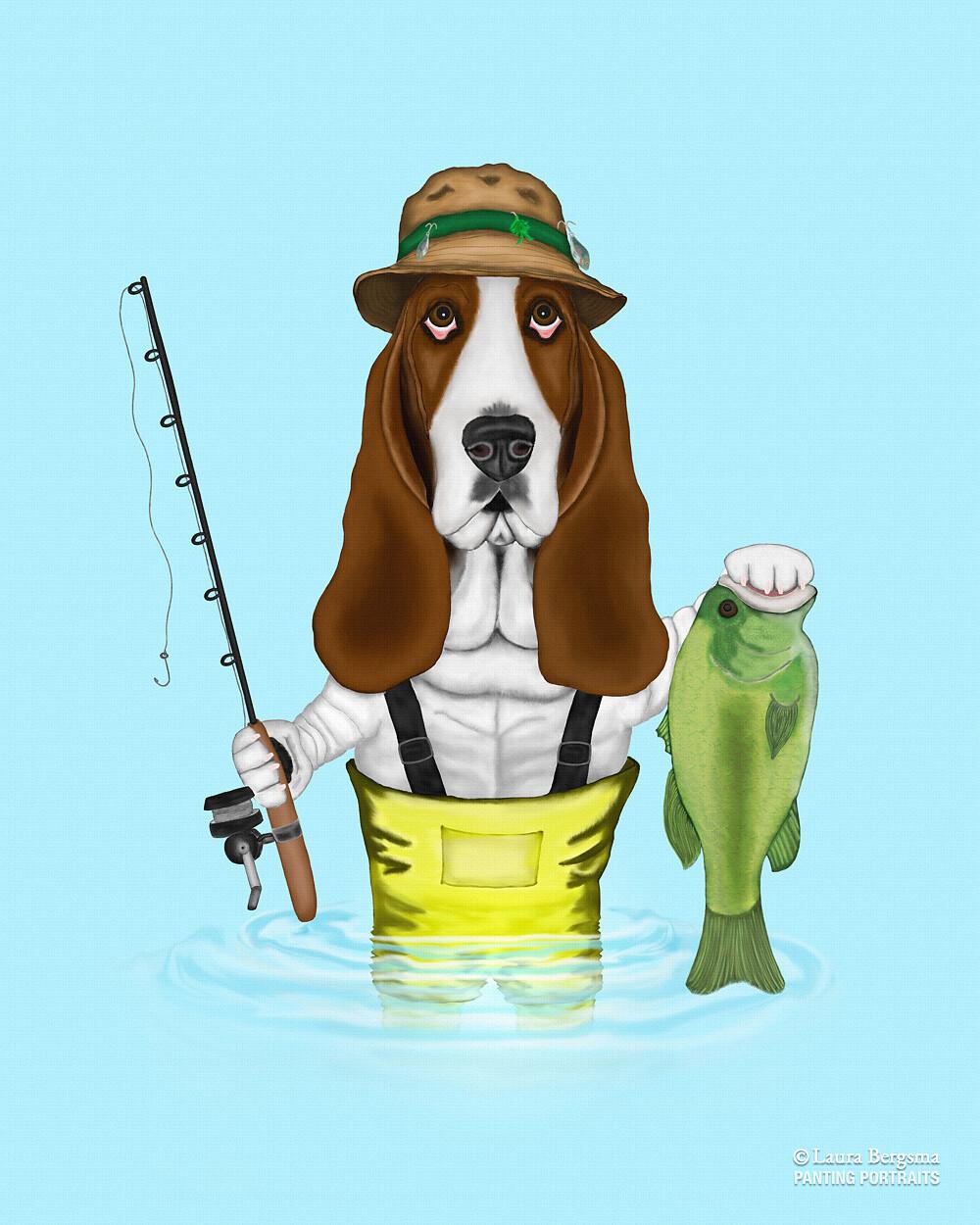 Basset Hound fishing for Bass