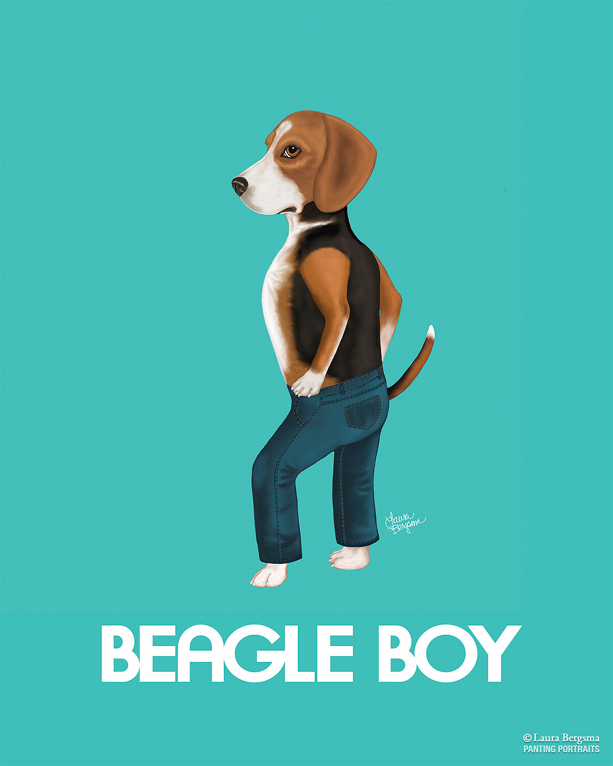 Beagle wearing Beagle Boy Jeans.