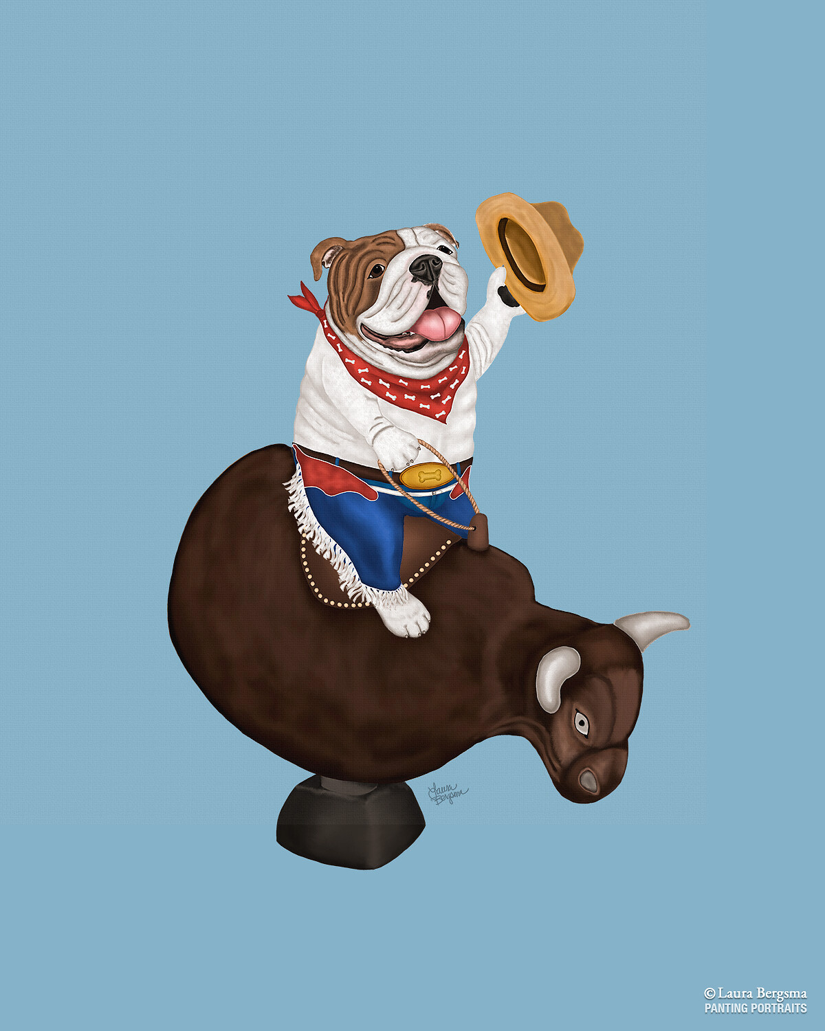 Blue Bulldog art riding a mechanical bull