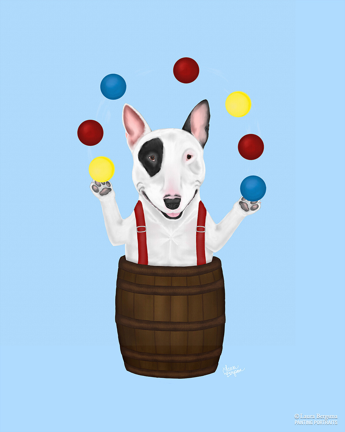 Blue Bull Terrier Art Print - juggling at a rodeo