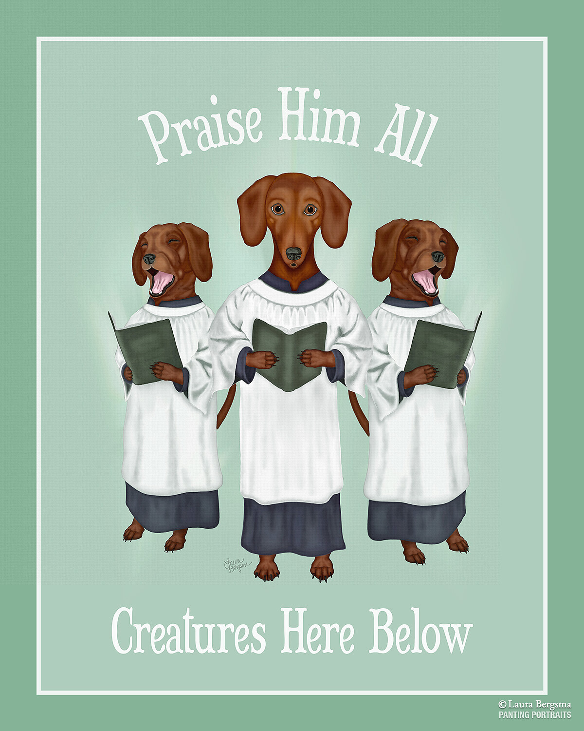 Green - Three Daschunds singing the doxology.