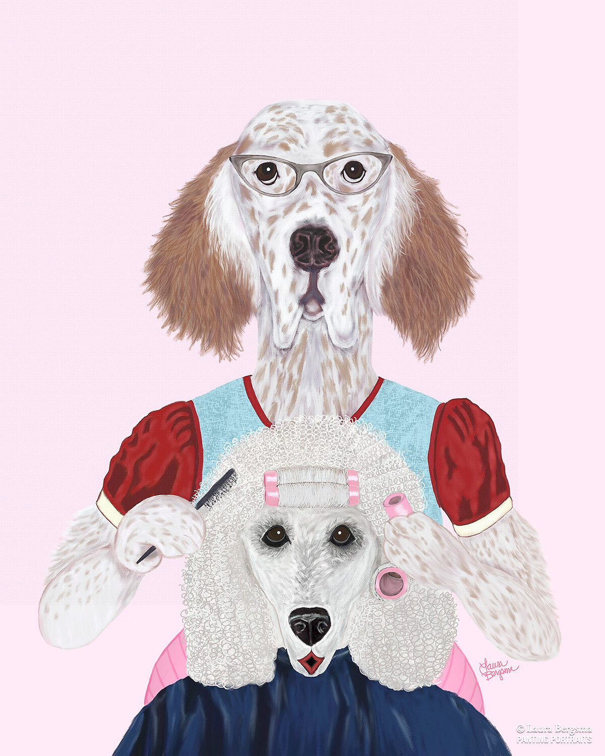 English Setter giving a poodle a perm