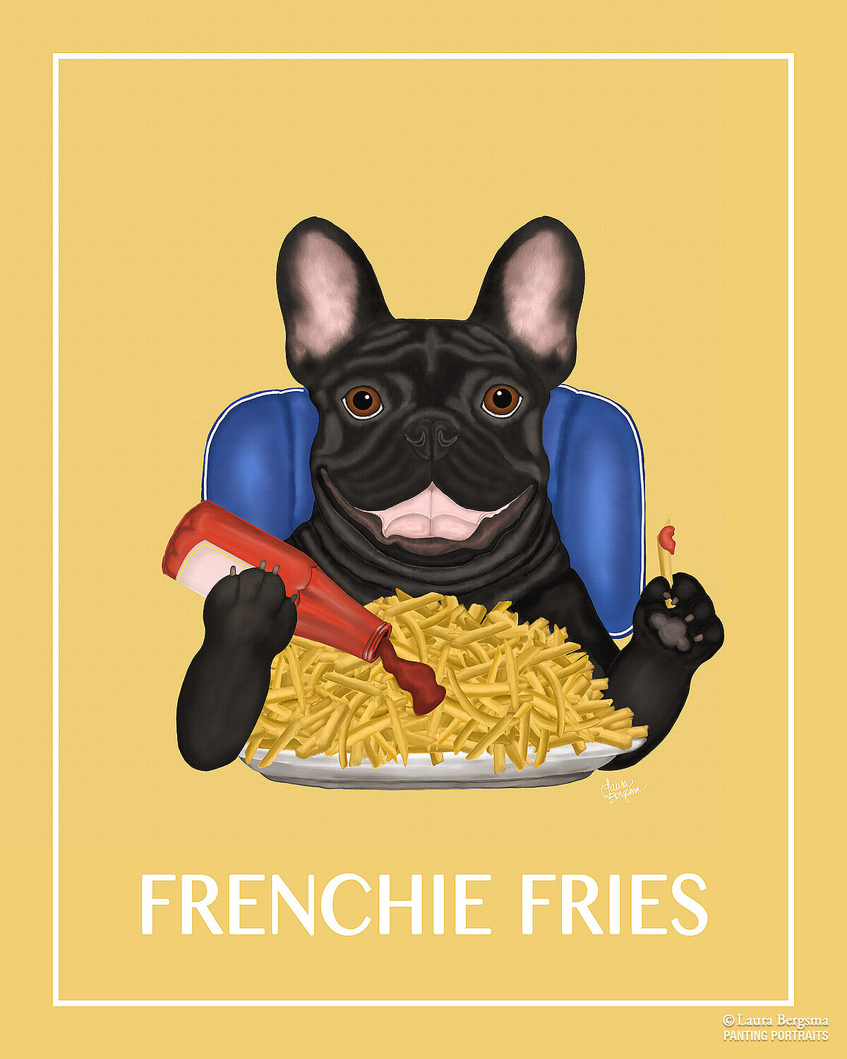 Painting of a Frenchie eating some fries