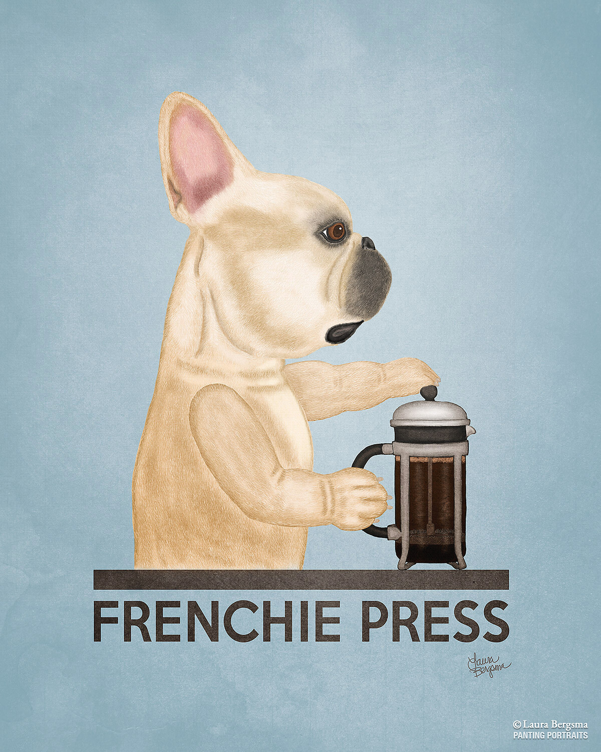 Quot Frenchie Press Quot Whimsical Frenchie Dog Art Panting