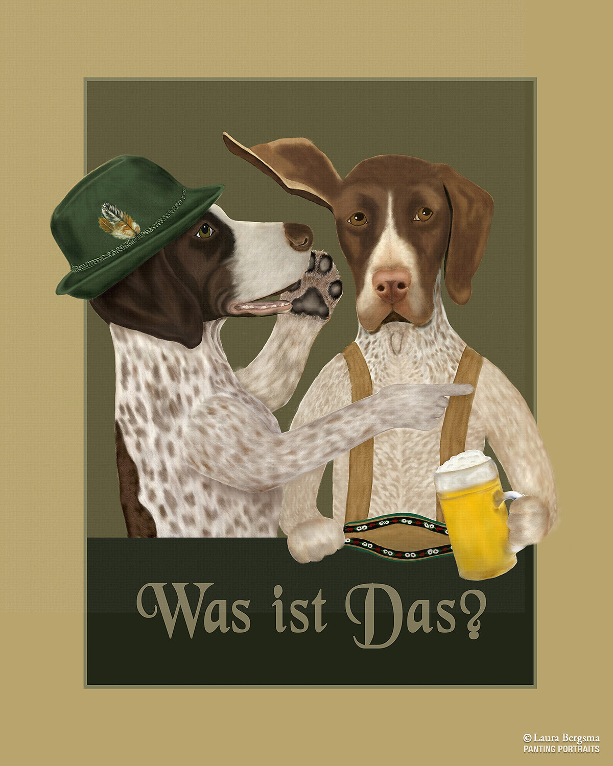 German Pointers having a beer after a good hunt.
