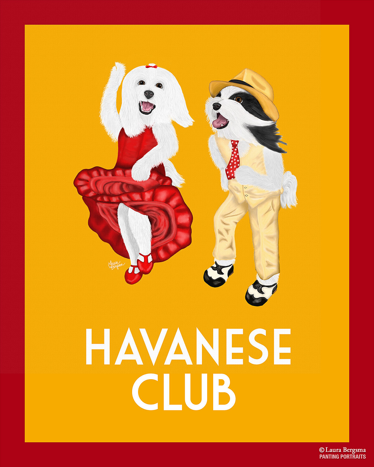 Orange Havanese Club Painting - Canine Musical Freestyle - Art Deco