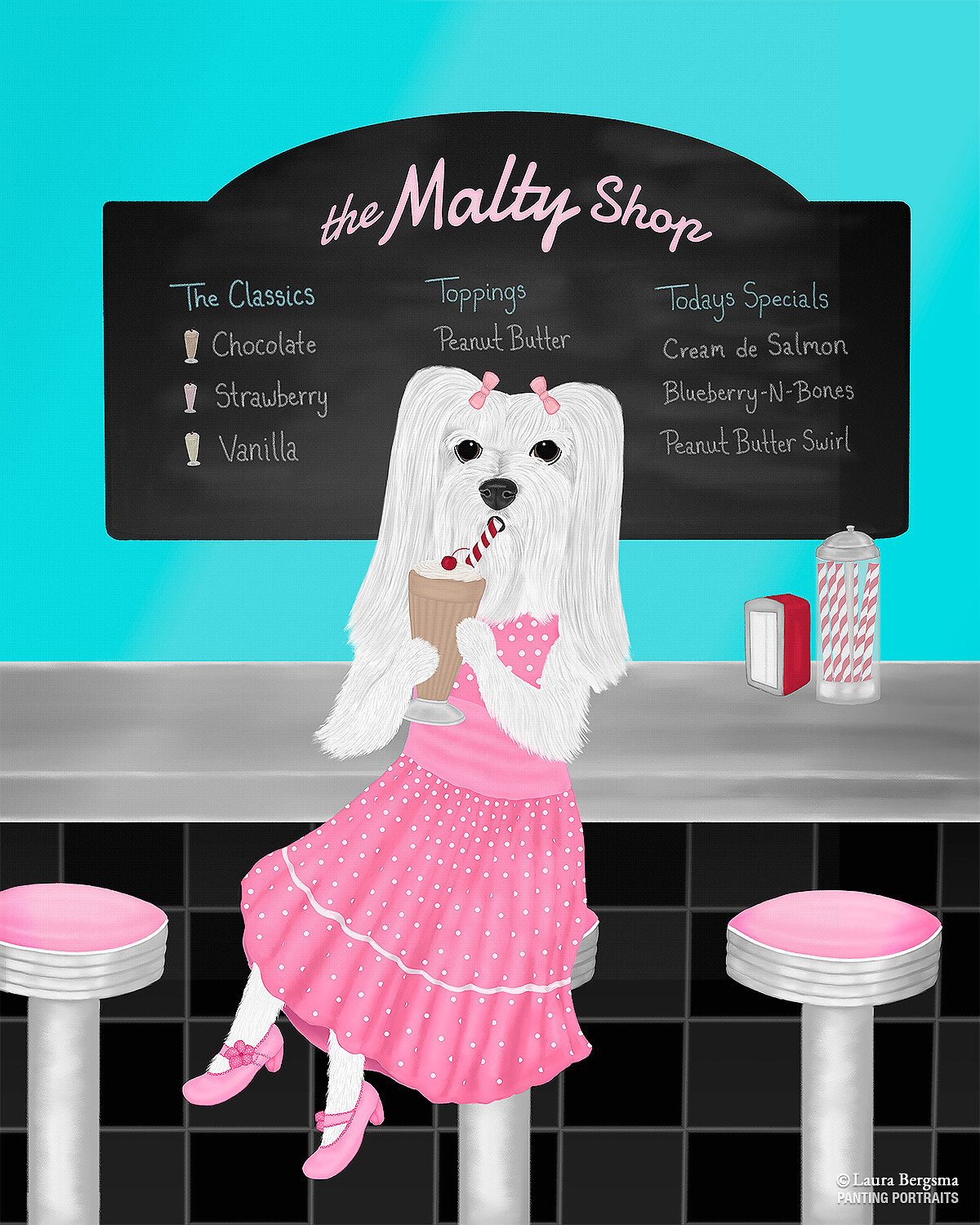 Maltese girl dog painting - sitting at the malt shop drinking a chocolate shake