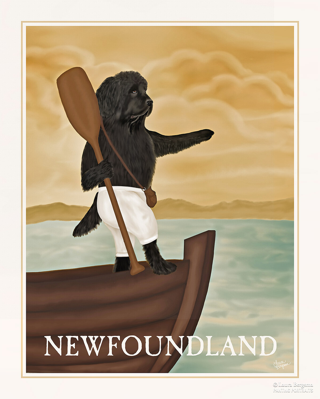 Black Newfoundland Exploring on a boat