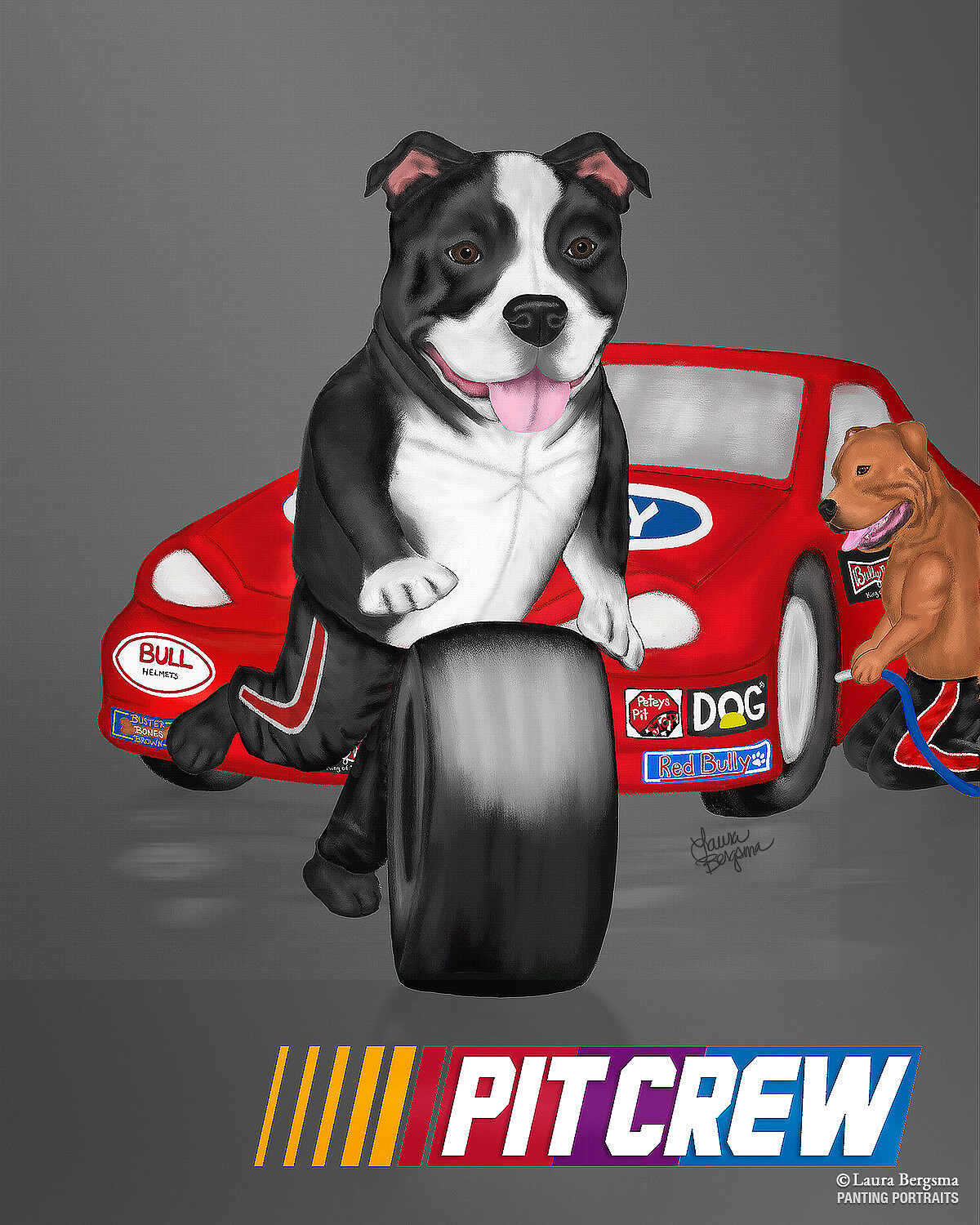 Pit Bull changing the tire in a Nascar Pit Crew
