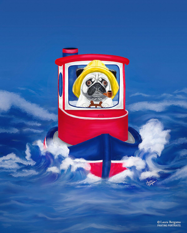 Pug Boat Captain. Small Pug driving a little Tug.
