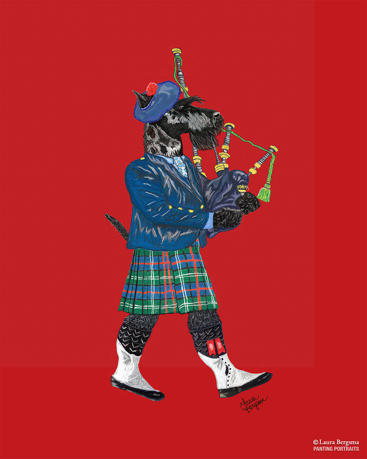 Scottish Terrier / Scotty Dog playing The Bagpipes