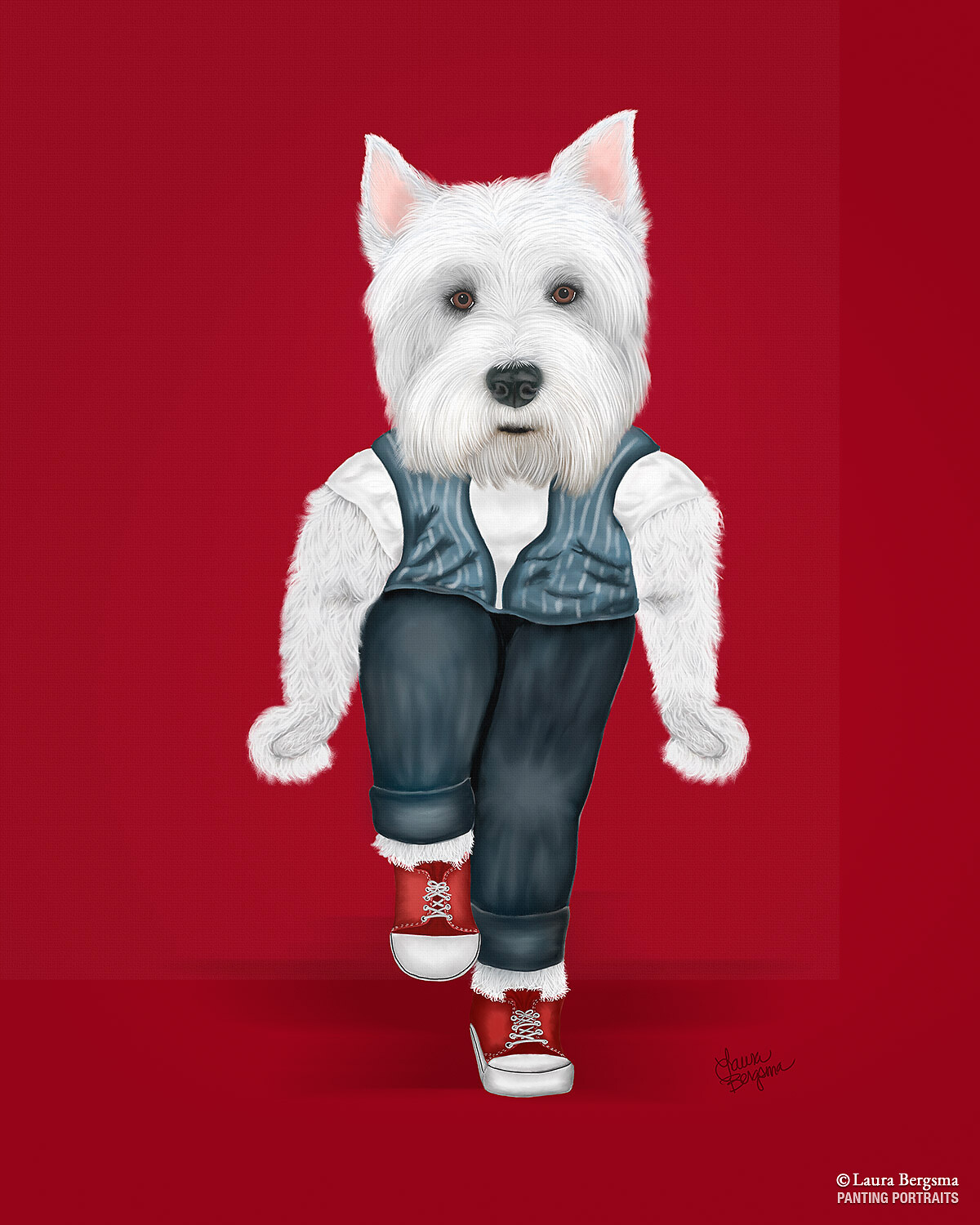 "Red ""Westie Side Story"" - Westie on stage caught in a rumble. Doing a snap dance"