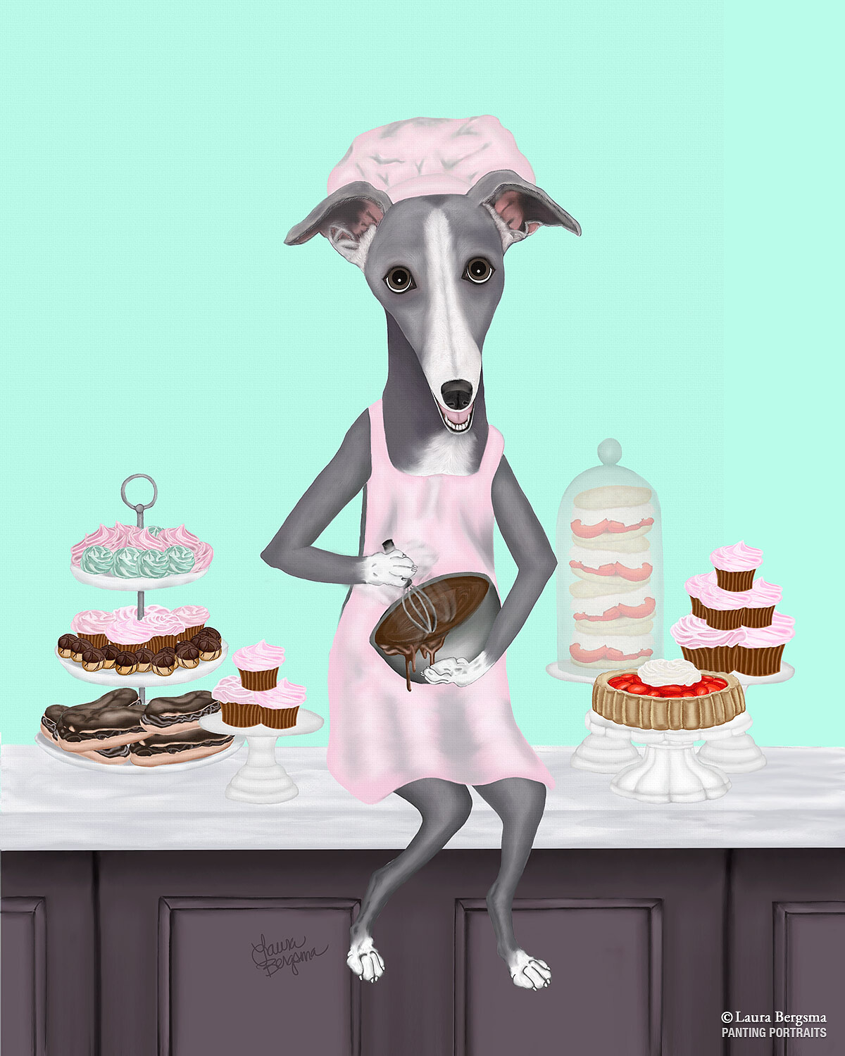 "Mint Green ""Whippet"" - making cupcakes"